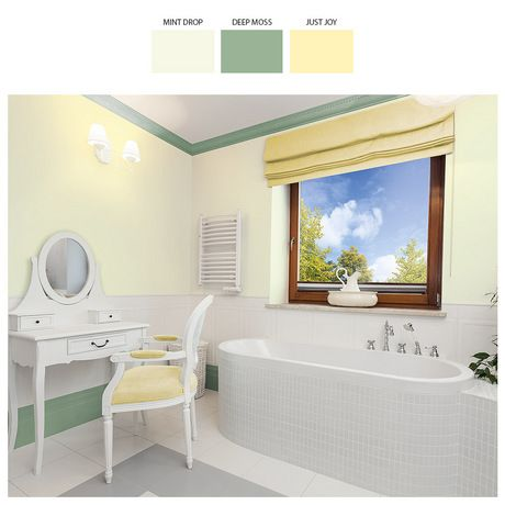 Warto pozwolić sobie na chwilę wytchnienia w łazience wypełnionej balsamicznymi zapachami. Delikatna mięta połączona z radosnym odcieniem żółtego stworzą sensualną atmosferę, która koi i nastraja.