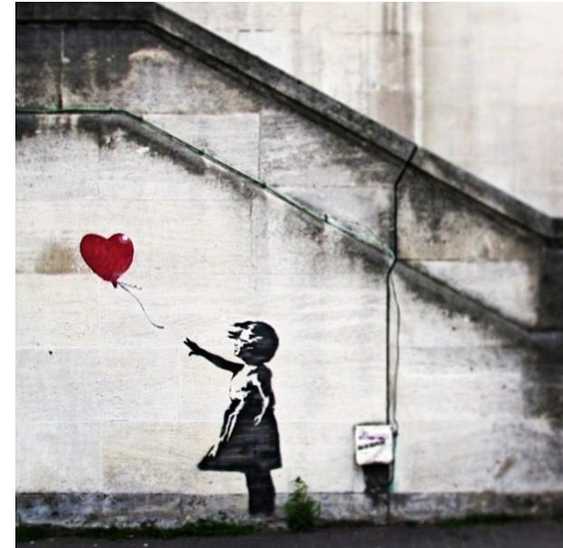 One of his most famous pieces (Bansky) - I've loved Banksy's work since I was about nine or ten. I've even got a phone cover of this particular one because It's my favourite - Harriet