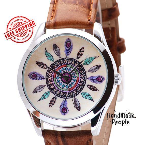 Dream Catcher Watch, Dreamcatcher Unisex polshorloge, lederen geschenken, dames horloges, horloges, mannen horloges, mannen horloges - gratis verzending on Etsy, €36,13