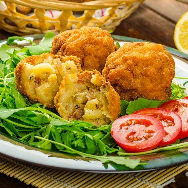 Croquette de macaronis à la carbonara