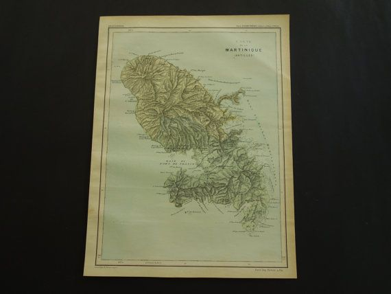 MARTINIQUE old map of Martinique 1896 original by DecorativePrints