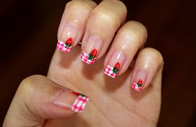 Simple Nail Art for Newbies: Strawberry Gingham Nails for the Strawberry Festival in Plant City, Florida