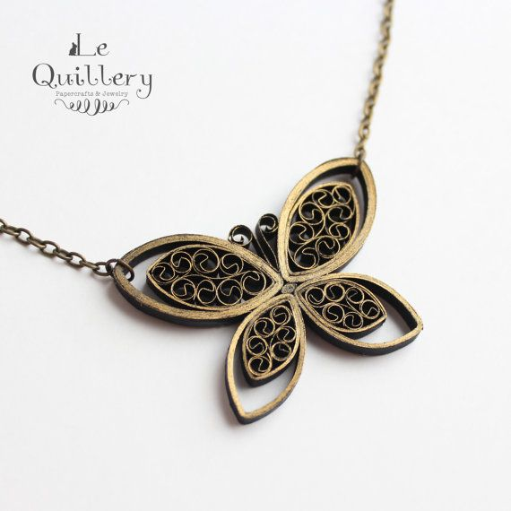Quilling Jewelry OOAK Quilled Paper Butterfly by LeQuillery