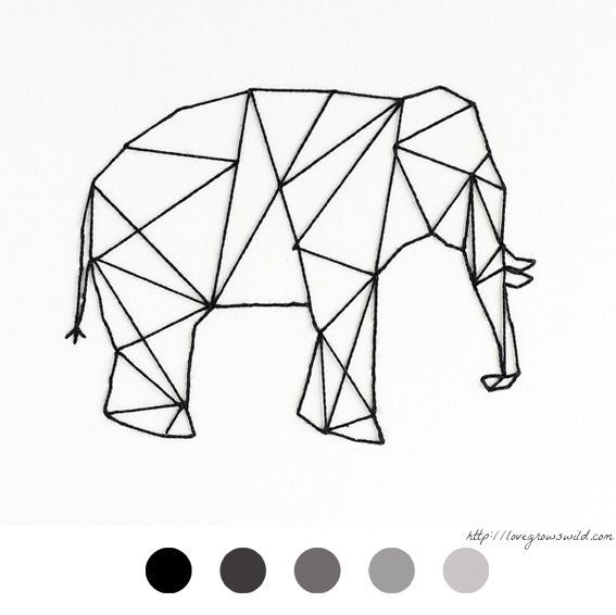 Elephant - éléphant - DIY Déco - Tableau Clou Fil - Décoration - Decoration - Stud - Thread - Tutoriel - Tuto -: