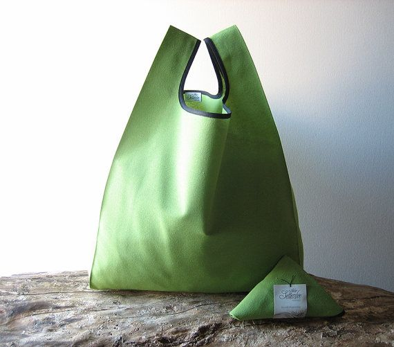 Unisex tote bag handmade in cotton green color by AtelierSettembre