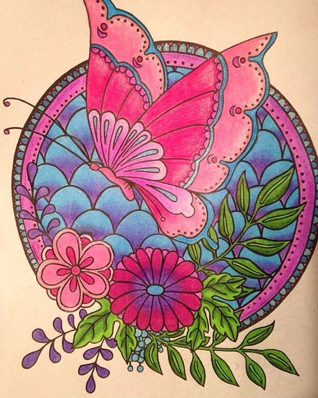 Completed Coloring Page From Posh Book Japanese Designs