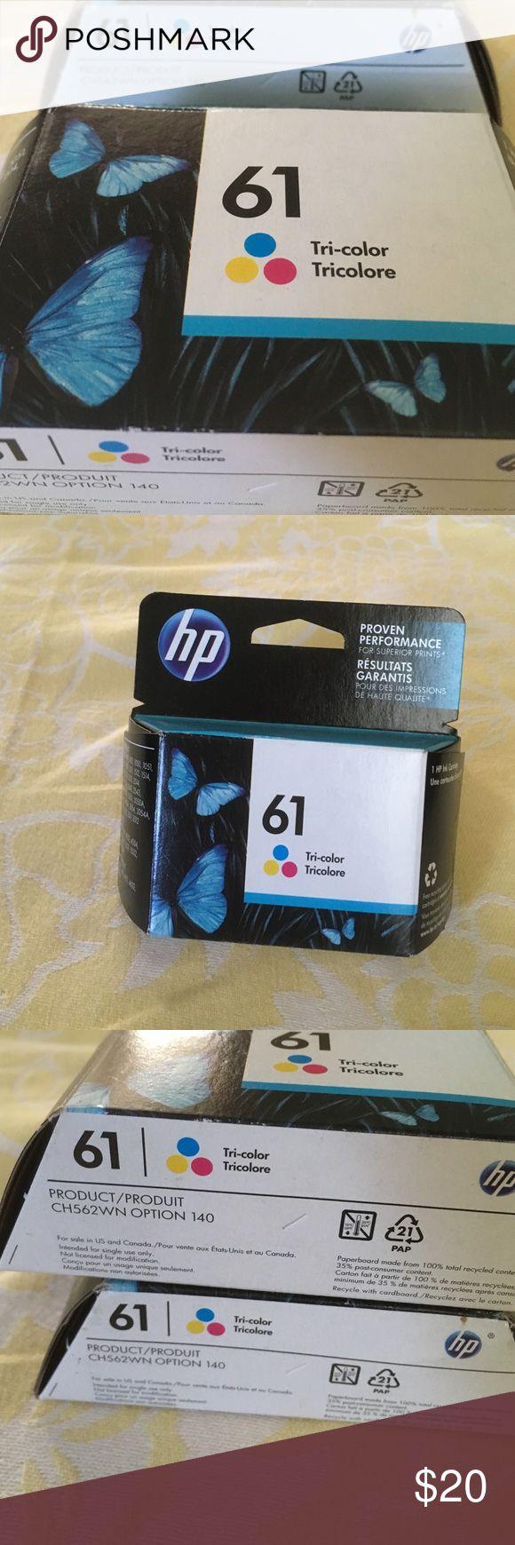 Printer ink HP. 61. Tri- color ink cartridges  2 packs  never opened   Exp date  Jan 2017 H P Accessories
