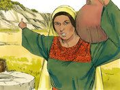 Free Bible illustrations at Free Bible images of a Jesus talking with a Samaritan woman at Sychar who comes to draw water from the well. (John 4:1-42)