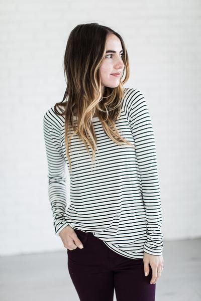 (all sales on CYBER MONDAY are F I N A L : no returns or exchanges) Striped shirts make the perfect stand alone shirt or pair it with everything shirt. See Sierra's sizing HERE, she is wearing size Sm