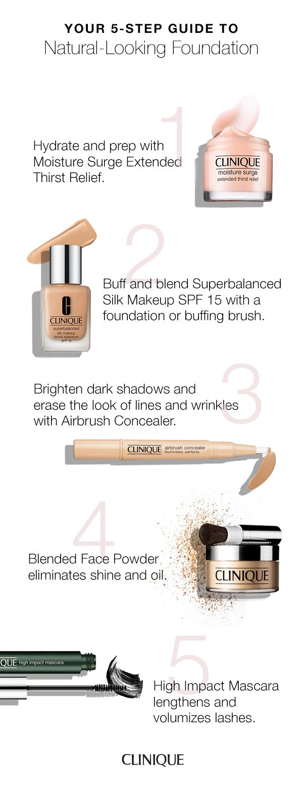 How to apply natural-looking foundation: 1. Hydrate and prep with Moisture Surge Extended Thirst Relief. 2. Buff and blend Superbalanced Silk Makeup SPF 15 with a foundation or buffing brush. 3. Brighten dark shadows and erase the look of lines and wrinkles with Airbrush Concealer. 4. Blended Face Powder eliminates shine and oil. 5. High Impact Mascara lengthens and volumizes lashes.