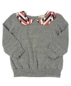 This sweatshirt will keep your child warm but still stylish! Peter pan collar adds a special touch to the everyday gray sweatshirt!