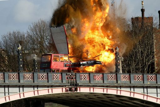 A bus explodes on Lambeth Bridge in London during filming for Jackie Chan's new film The Foreigner. 7th February 2016