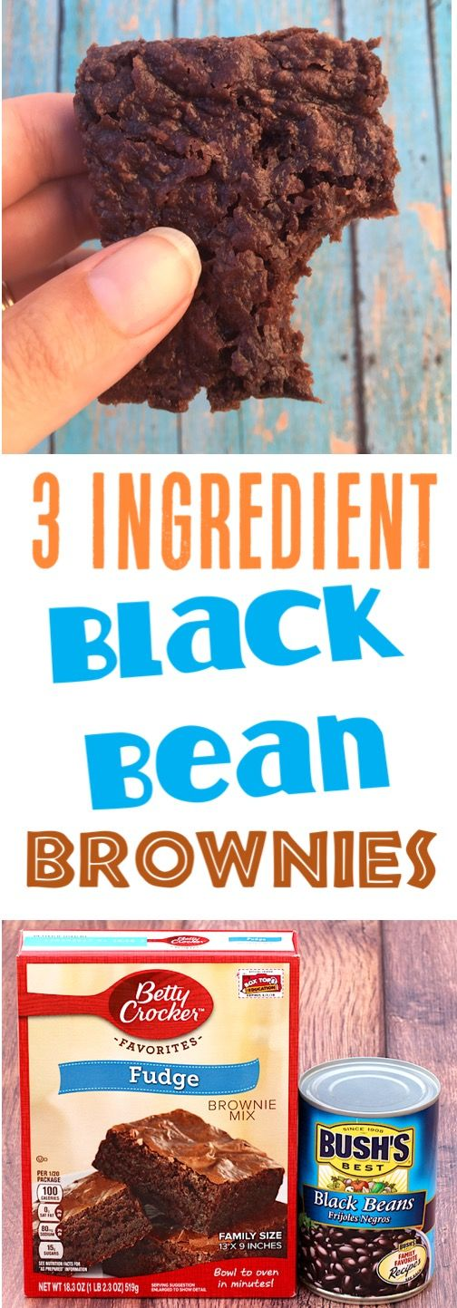 Black Bean Recipes! This Easy Brownie Recipe is the ultimate protein-packed dessert... rich, decadent, and nobody will notice the secret ingredient! Give them a try this week! Just 3 Ingredients!