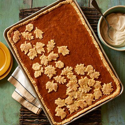 This is such a good recipe, and the cutouts on top make it extra cute!  Pie for a crowd with this classic Pumpkin Sheet Pan Pie from Land O'Lakes