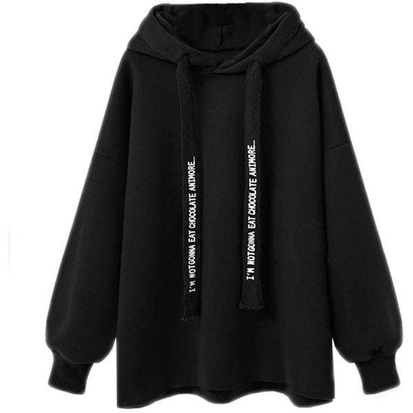 Lady'S Loose Hoodie ($19) ❤ liked on Polyvore featuring tops, hoodies, black, hooded sweatshirt, loose tops, sweatshirt hoodies, hooded pullover and cut loose tops