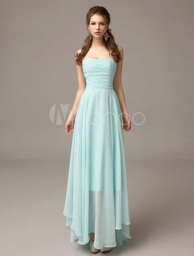 Mint Green Pleated Chiffon Asymmetrical Bridesmaid Dress with Elegant A-line - Milanoo.com