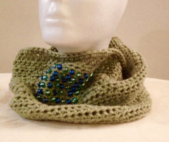 Beaded green crocheted cowl by WestEndCo on Etsy