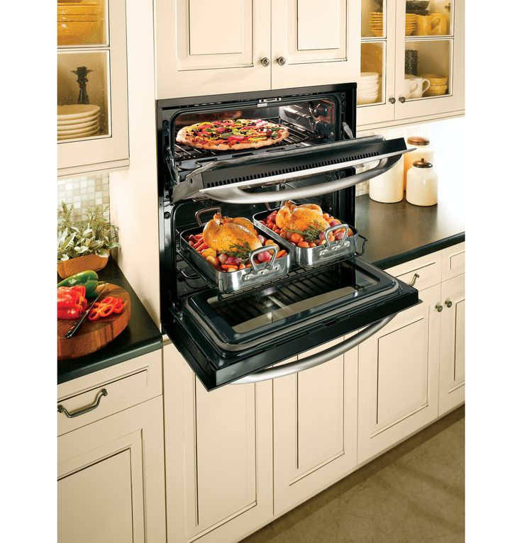 The GE Profile single-double wall oven provides double-oven versatility yet requires only the space of a 30-inch single wall oven.