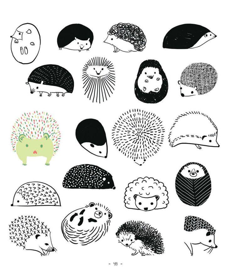20 ways to draw a hedgehog http://craftside.typepad.com/.a/6a00e55007f593883401901cbb5b49970b-pi