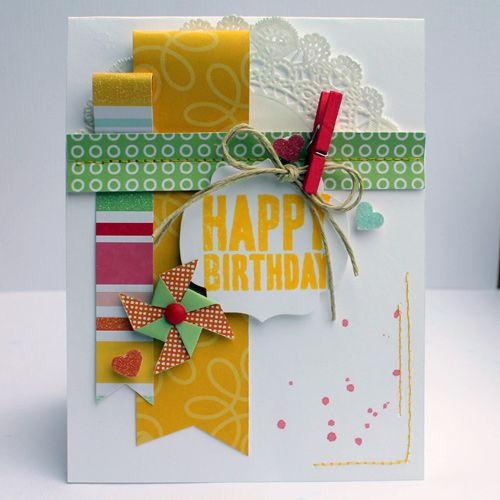 Pebbles Inc: Free For All Friday #yellow #happy #birthday #scraps #scrapbook #card