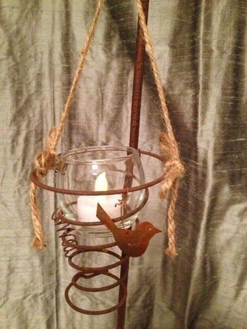 "sweet votive candle holder made with a rusty bed spring ""Junk Salvation"" by Funky Junk Sisters: Lust For Rust"
