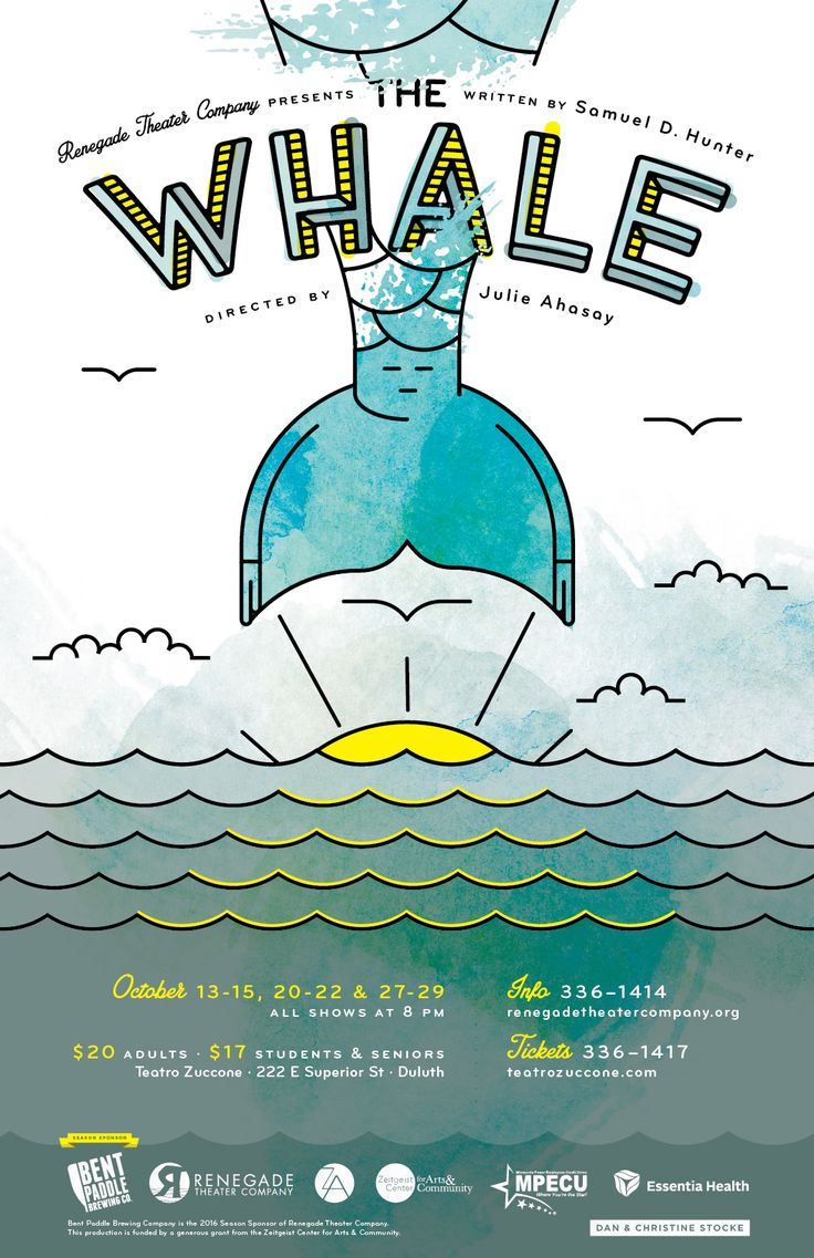 Poster design health -  The Whale Theater Poster Design For Renegade Theater Company In Duluth Mn