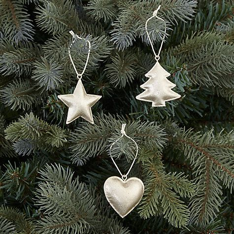 Buy John Lewis Enchantment Star, Heart and Tree Jingle Hangers, Pack of 12, Champagne Online at johnlewis.com
