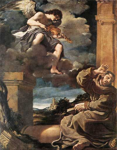 Saint Francis with an angel plying violin, Guercino (1591 - 1666), Italy