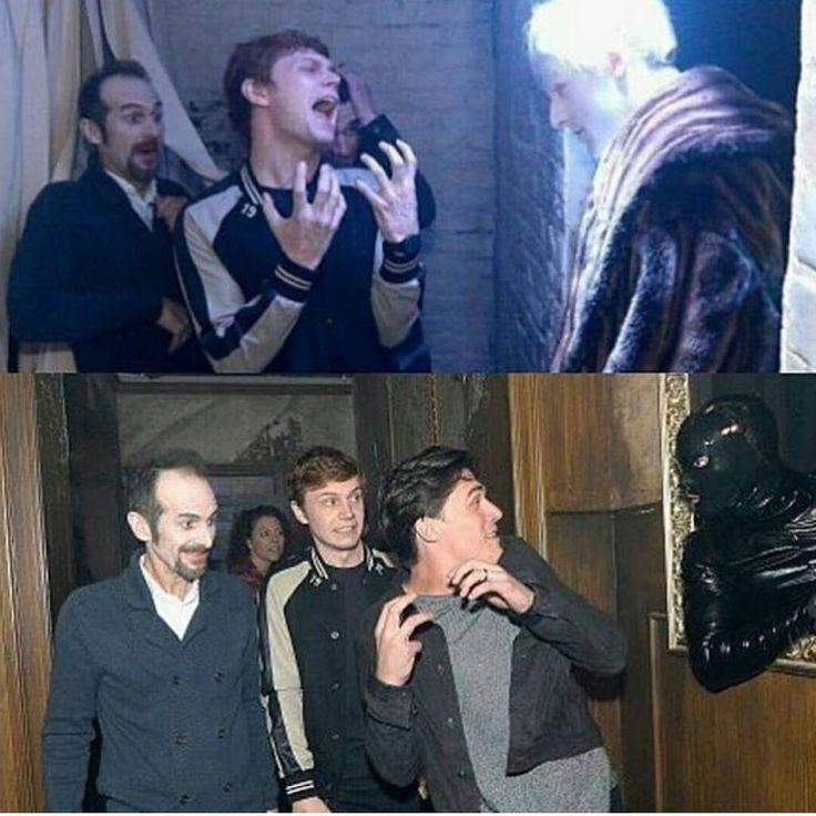 AHS cast members going through Universal Studios AHS house for Halloween Horror Nights