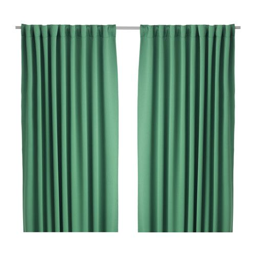 IKEA - WERNA, Block-out curtains, 1 pair, , The curtains prevent most light from entering and provide privacy by blocking the view into the room from outside.Effective at keeping out both drafts in the winter and heat in the summer.The curtains can be used on a curtain rod or a curtain track.The heading tape makes it easy for you to create pleats using RIKTIG curtain hooks.You can hang the curtains on a curtain rod through the hidden tabs or with rings and hooks.