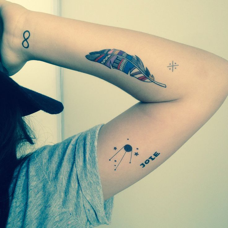 Tatouages éphémères -La plume, les planètes et l'infini par Les Tatoués