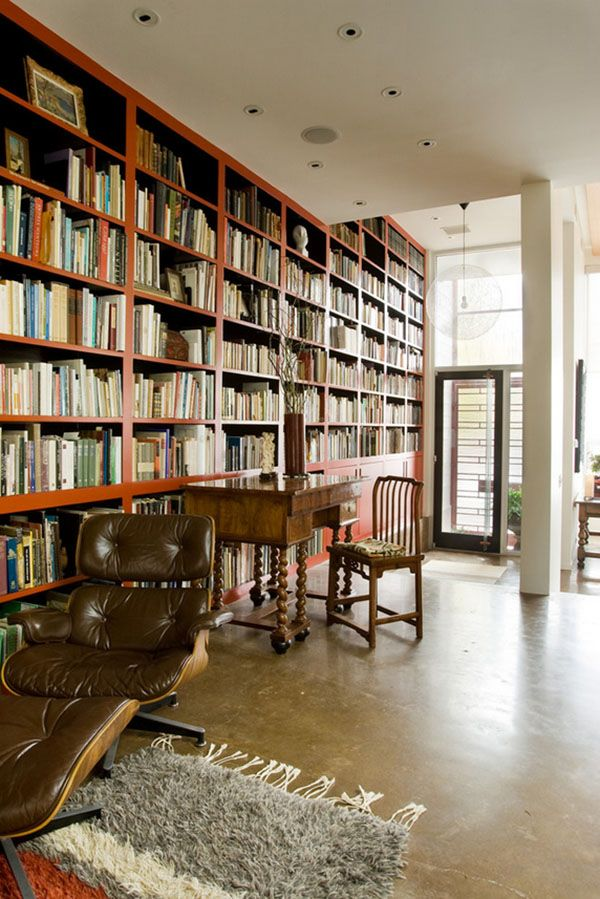 Unique home library designs bookcases