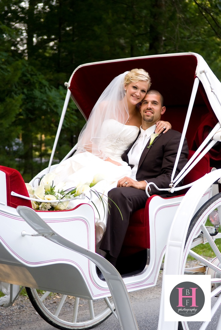 """Vis-a-vis"" carriage Rides are a favorite romantic feature of many of the weddings planned at the Resort at Glade Springs.  With a carriage ride from reception to honeymoon villa, she will be a princess for a day!"