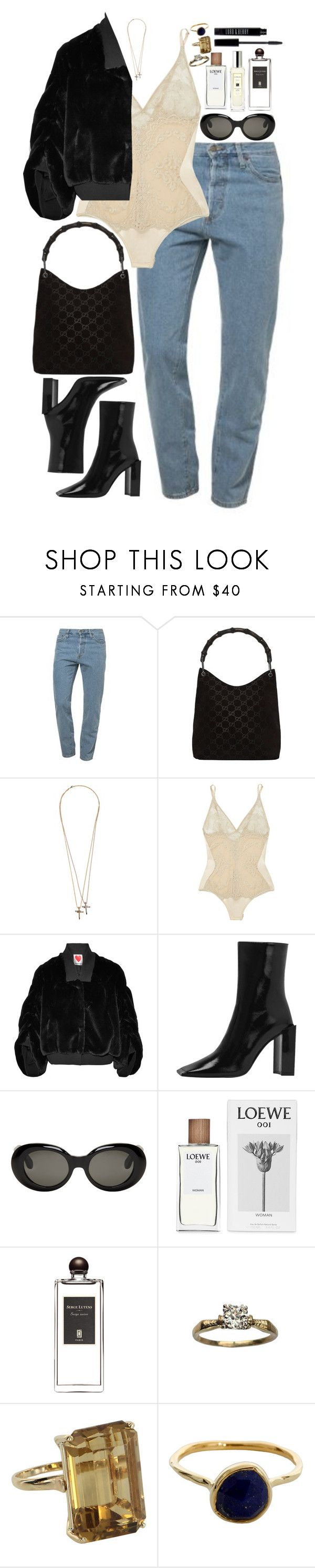 """Untitled #813"" by lindsjayne ❤ liked on Polyvore featuring American Apparel, Gucci, Dsquared2, I.D. SARRIERI, House of Fluff, Acne Studios, Loewe, Serge Lutens, Vintage and Monica Vinader"