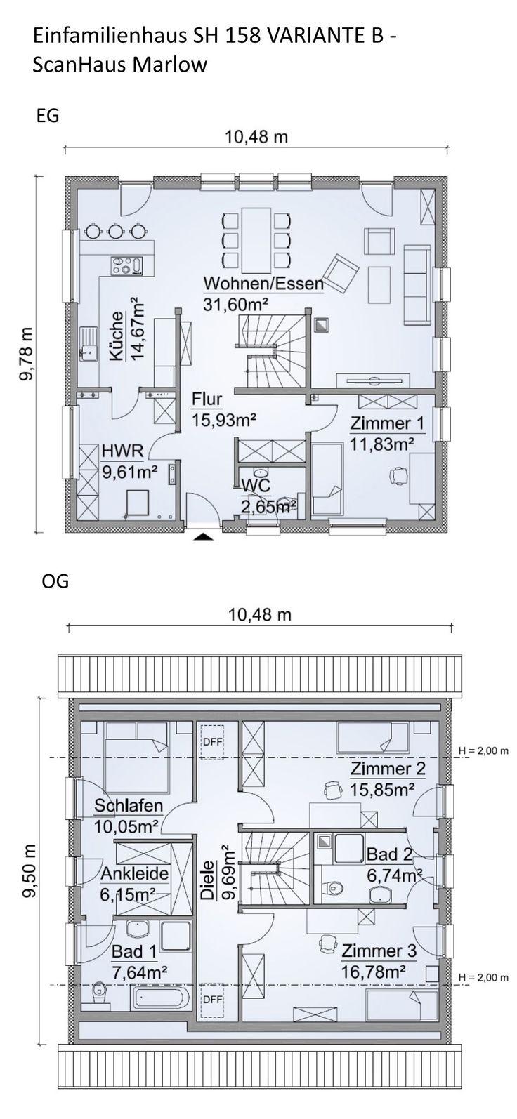 Grundriss Einfamilienhaus modern mit Satteldach Architektur – 5 Zimmer, 160 m², Erdgeschoss Treppe offen, Wohnküche, Obergeschoss – Haus bauen Ideen…