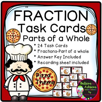 Fraction Task Cards- (Parts of a Whole) Circle Pizza Theme This colorful set of 24 task cards with fraction questions with circular pizza pictures representing parts of a whole is a wonderful addition to your lessons! I've included a recording sheet and answer