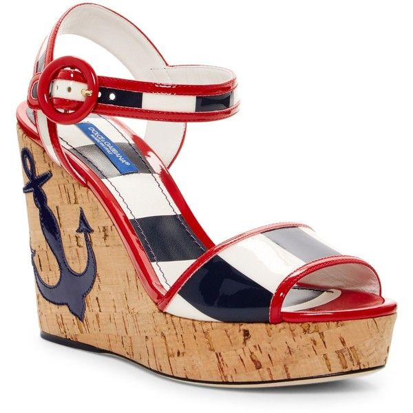 Dolce & Gabbana Nautical Platform Wedge Sandal (£555) ❤ liked on Polyvore featuring shoes, sandals, rigabluf dobianco, platform wedge shoes, striped shoes, dolce gabbana sandals, platform sandals and wedge shoes