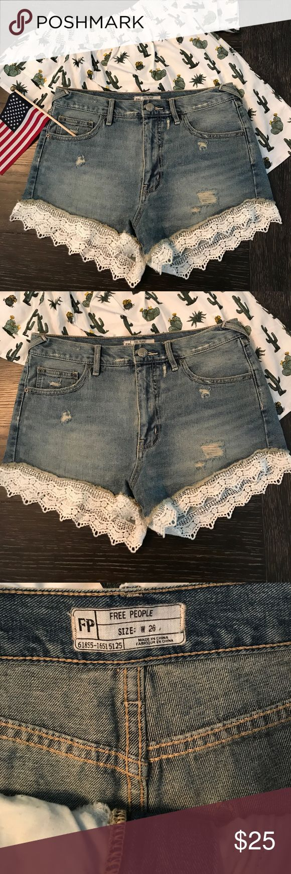 Free People Lace trim shorts In like new condition but since losing weight they don't fit. Free People Shorts Jean Shorts