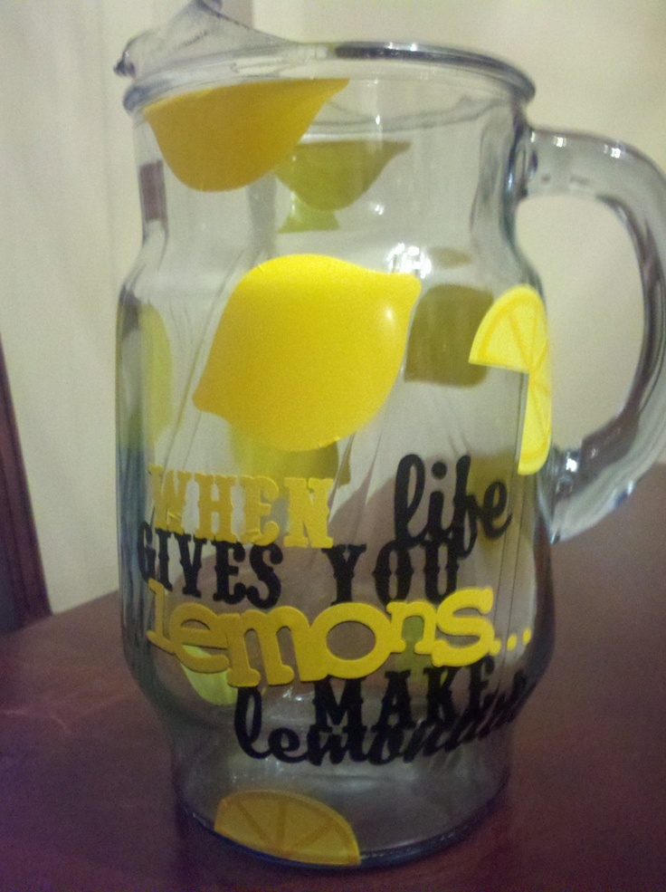 Cricut Vinyl Lemonade Pitcher Maybe Use For A Bridal