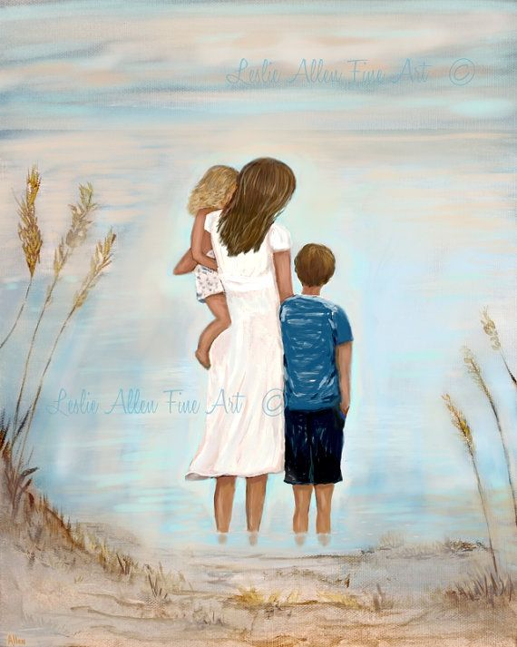 mother at print daughter son brother sisters by