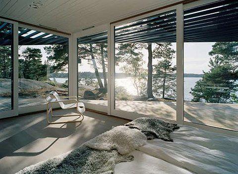 Big windows and sliding glass doors.