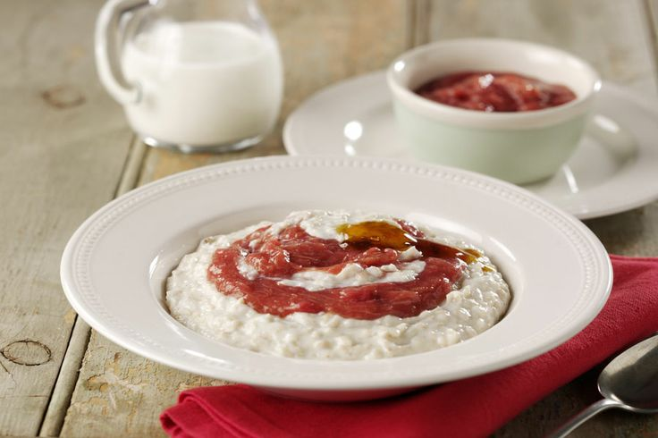 Creamy Porridge With Golden Syrup And Rhubarb   #LowanWholeFoods #Recipe