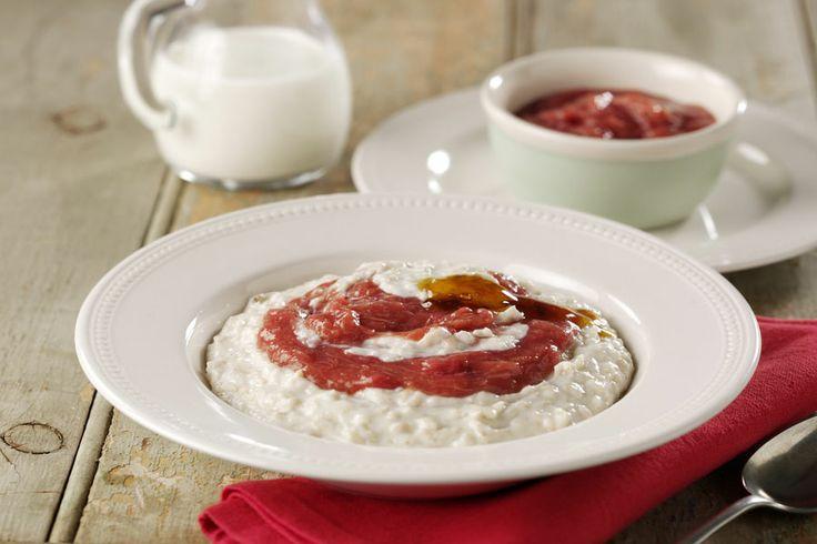 Creamy Porridge With Golden Syrup And Rhubarb   #LowanWholeFoods #Recipe