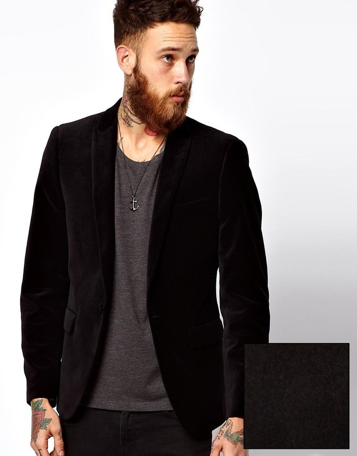 Asos Slim Fit Blazer In Velvet on shopstyle.co.uk