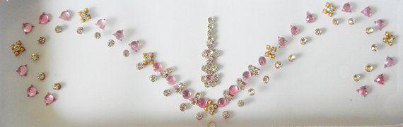 Bridal Baby Pink Bindi Fake eyebrow piercing nail art Long bindi..