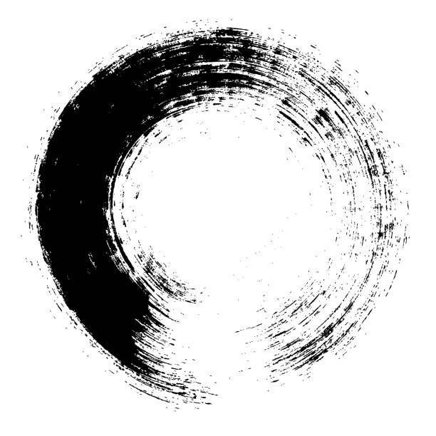 Enso Circular Brush Stroke Japanese Zen Circle Calligraphy N 2 Vector Art Illustration
