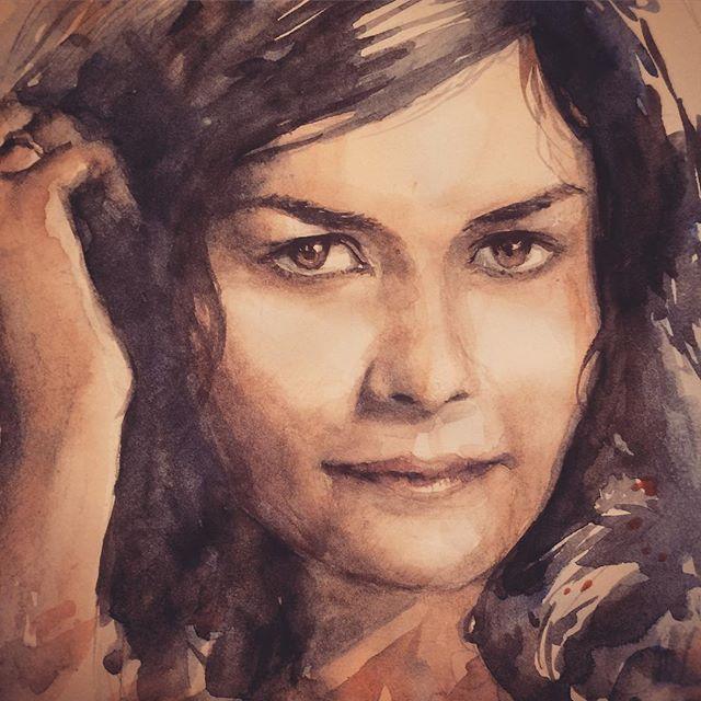 #portrait #portraiture #watercolor #painting #audreytatou