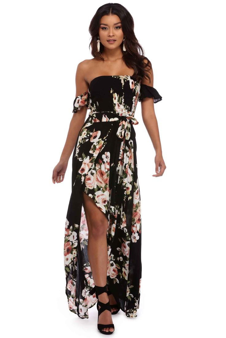 Black Talk Smock Floral Dress | windsor