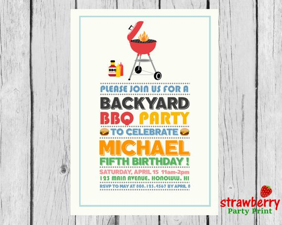 BBQ Birthday Invitation Barbeque Party by StrawberryPartyPrint