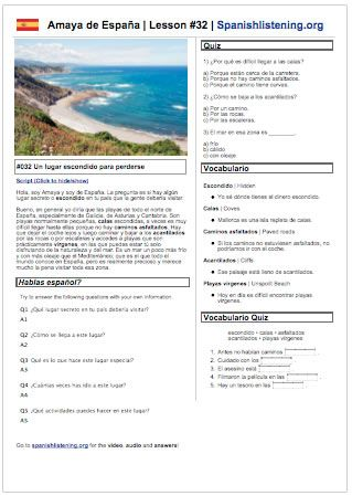 Printable worksheet as Amaya from Spain talks about the secret spots in her country that people should go visit. Come with Video, transcript,  vocab and speaking challenge. Perfect for self-study, in class use, or homework.